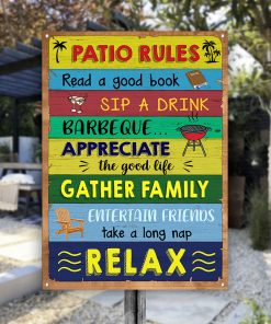 Patio Rules Metal Sign H0