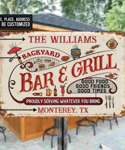 Personalized Bar & Grill Good Food Good Friends Good Times Metal Sign H0